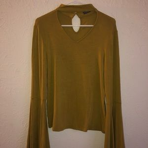Mustard bell sleeve top from Earthbound Trading Co